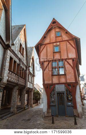 street in old Breton Brittany town Vitre, ille-et-vilaine, France
