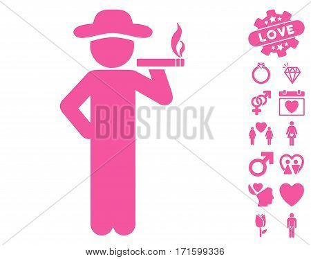 Smoking Gentleman pictograph with bonus marriage images. Vector illustration style is flat iconic pink symbols on white background.