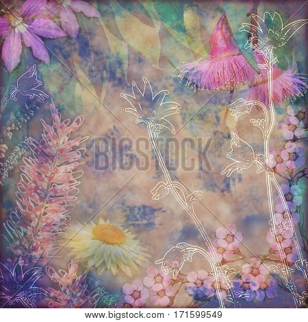 Vintage floral background with Australian flora including grevillea, flannel flowers, paper daisies and gumtree blossoms. Photo montage on textured background. Copy space for text.