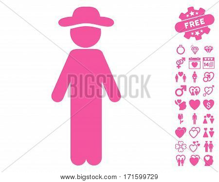 Standing Gentleman pictograph with bonus romantic pictograms. Vector illustration style is flat iconic pink symbols on white background.