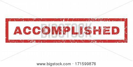 Accomplished text rubber seal stamp watermark. Caption inside rectangular banner with grunge design and dirty texture. Horizontal vector red ink emblem on a white background.