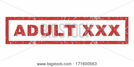 Adult XXX text rubber seal stamp watermark. Tag inside rectangular banner with grunge design and dirty texture. Horizontal vector red ink emblem on a white background.