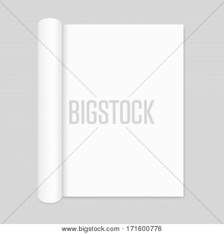 Blank open magazine mockup with rolled page, portrait orientation