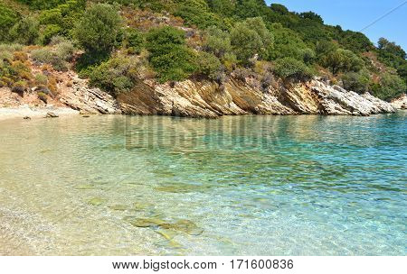 landscape of Filiatro beach Ithaca Ionian islands Greece