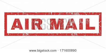 Air Mail text rubber seal stamp watermark. Caption inside rectangular banner with grunge design and unclean texture. Horizontal vector red ink sticker on a white background.