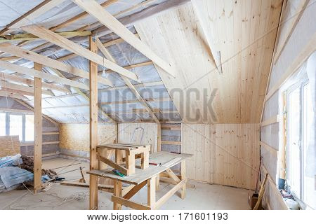 the interior of the frame house in process of constructioni