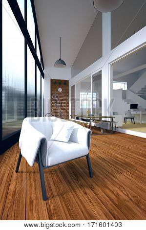 3d Rendering : illustration of chair sofa in a light spacious modern minimalism outdoor livingroom with large windows. loft livingroom home in a wild.resort or home interior. raining wter drop texture at mirror outdoor