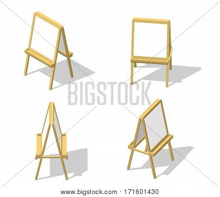 Set Isometric Easel. Drawing Whiteboard. Paint Desk And White Paper Isolated On White Background. Ve