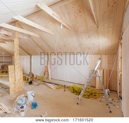 the interior of the frame house in process of construction