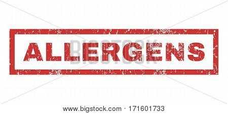 Allergens text rubber seal stamp watermark. Tag inside rectangular shape with grunge design and scratched texture. Horizontal vector red ink emblem on a white background.
