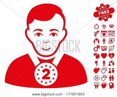 2nd Prizer Sportsman icon with bonus lovely design elements. Vector illustration style is flat iconic red symbols on white background.