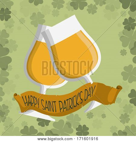 happy st patricks day glass cups celebration ribbon vector illustration eps 10