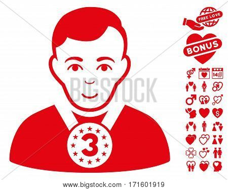 3rd Prizer Sportsman icon with bonus decorative pictograms. Vector illustration style is flat iconic red symbols on white background.