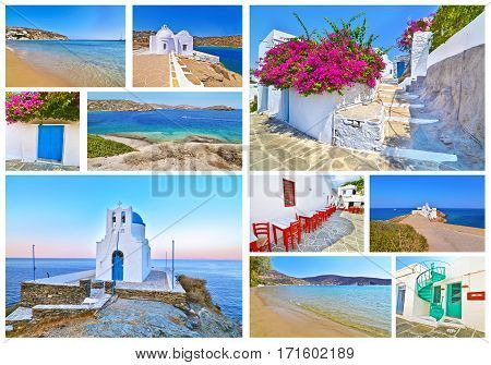 photo collage of Sifnos island Cyclades Greece - Seven Martyrs church - Chrisopigi church - Apollonia