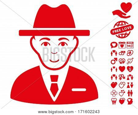 Agent pictograph with bonus decoration clip art. Vector illustration style is flat iconic red symbols on white background.