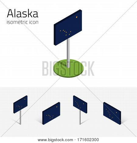 Flag of Alaska (State of Alaska, USA), vector set of isometric flat icons, 3D style, different views. Editable design element for banner, website, presentation, infographic, poster, map, card