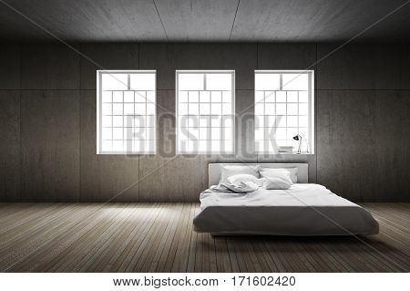 3D rendering : illustration of big spacious bedroom in soft light colors.big comfortable double bed in elegant classic modern bedroom.