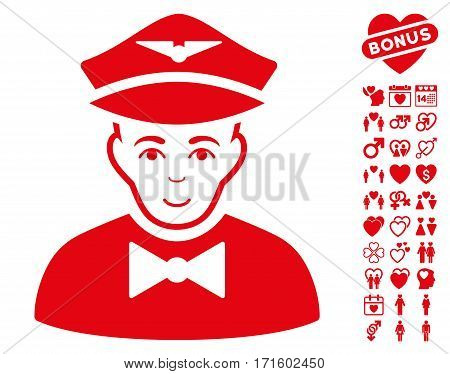 Airline Steward pictograph with bonus love images. Vector illustration style is flat iconic red symbols on white background.
