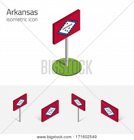Flag of Arkansas (State of Arkansas, USA), vector set of isometric flat icons, 3D style, different views. Editable design element for banner, website, presentation, infographic, poster, map, collage