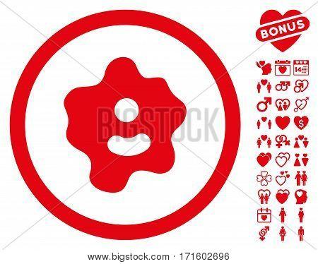 Ameba icon with bonus amour clip art. Vector illustration style is flat iconic red symbols on white background.