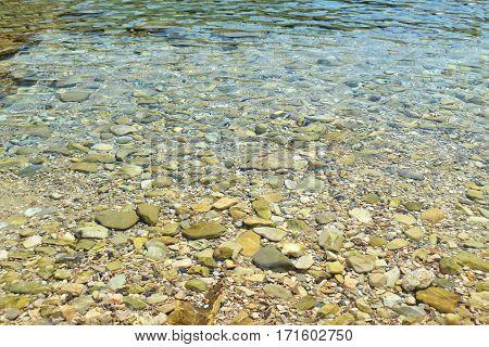 photo texture of beach pebbles Ithaca island Greece