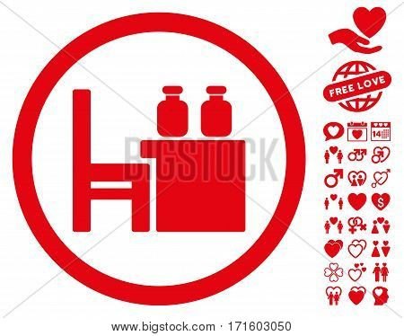Apothecary Table icon with bonus romantic pictures. Vector illustration style is flat iconic red symbols on white background.
