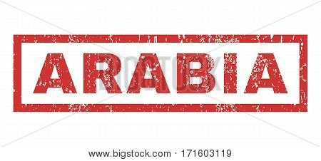 Arabia text rubber seal stamp watermark. Tag inside rectangular shape with grunge design and dirty texture. Horizontal vector red ink sticker on a white background.