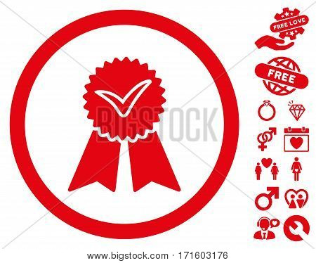 Approvement Seal pictograph with bonus passion pictures. Vector illustration style is flat iconic red symbols on white background.