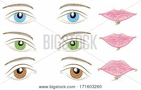 Hand Drawings of Different Types of Eyes and Lips. Blue Green and Brown Eyes and Pink Lips. Vector Illustration.