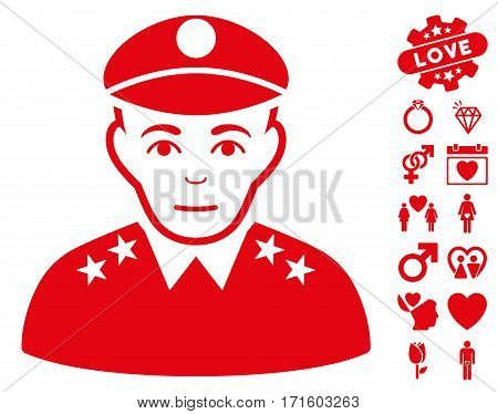 Army General icon with bonus decoration design elements. Vector illustration style is flat iconic red symbols on white background.