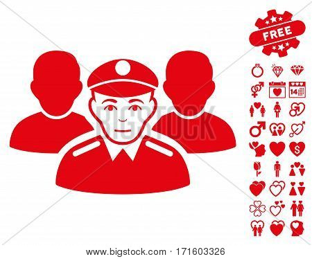 Army Team pictograph with bonus romantic pictures. Vector illustration style is flat iconic red symbols on white background.
