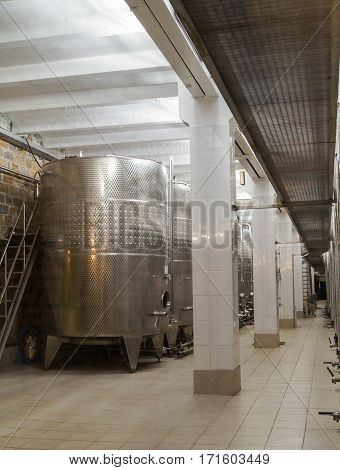 Novorossiysk, Russia - 26 October, The metal vats on wine production, 26 October, 2016. Factory production of wine Abrau Durso.