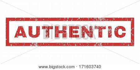 Authentic text rubber seal stamp watermark. Caption inside rectangular banner with grunge design and scratched texture. Horizontal vector red ink emblem on a white background.