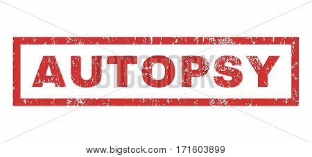 Autopsy text rubber seal stamp watermark. Tag inside rectangular shape with grunge design and dirty texture. Horizontal vector red ink sign on a white background.