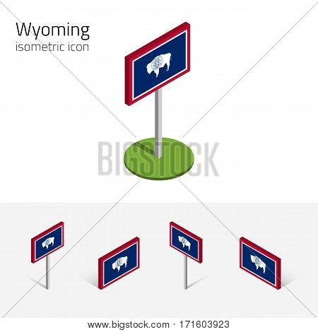 Flag of Wyoming (State of Wyoming, USA), vector set of isometric flat icons, 3D style, different views. Editable design element for banner, website, presentation, infographic, poster, map, collage
