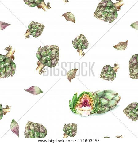 Hand drawn seamless repeated pattern with watercolor artichokes on the white background