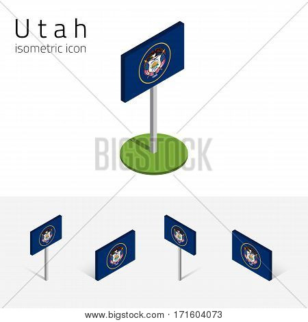 Flag of Utah (State of Utah, USA), vector set of isometric flat icons, 3D style, different views. Editable design element for banner, website, presentation, infographic, poster, map, collage