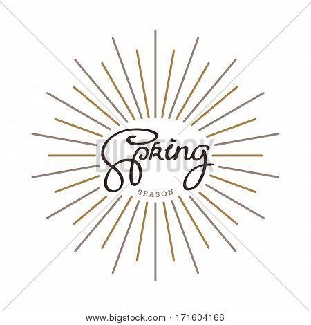 Spring season. Creative handwritten calligraphy composition with linear starburst. Vector template for your design.