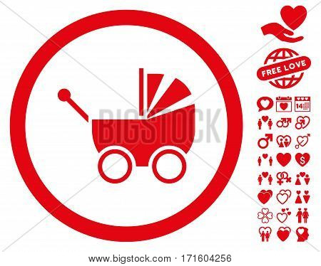 Baby Carriage pictograph with bonus dating design elements. Vector illustration style is flat iconic red symbols on white background.