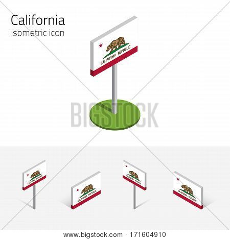 Flag of California (State of California, USA), vector set of isometric flat icons, 3D style, different views. Editable design element for banner, website, presentation, infographic, map, card