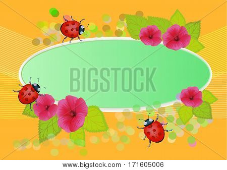 vector illustration with flowers and summer beetles for books and albums