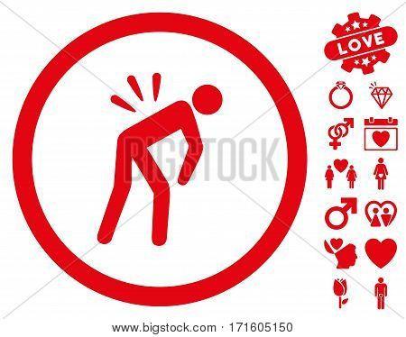 Backache pictograph with bonus decorative pictograms. Vector illustration style is flat iconic red symbols on white background.