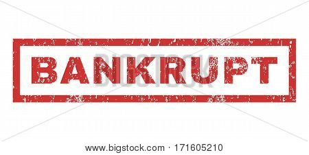 Bankrupt text rubber seal stamp watermark. Tag inside rectangular banner with grunge design and unclean texture. Horizontal vector red ink sticker on a white background.