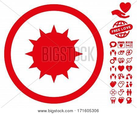 Bacterium pictograph with bonus valentine pictograms. Vector illustration style is flat iconic red symbols on white background.
