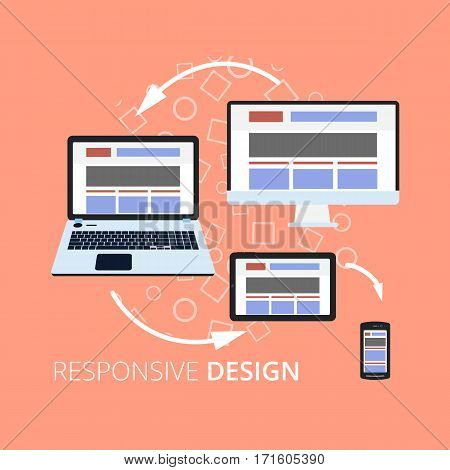Flat design icons for internet advertising responsive web design and graphic design. Tablet laptop mobile phone and desktop screens icons. Vector illustration