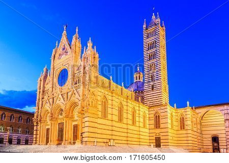 Siena Italy. The Cathedral of Siena (Duomo di Siena) at twilight.