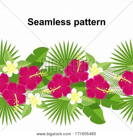 seamless strip of tropical flowers and leaves. decorative strip of flowers of hibiscus and plumeria, palm leaf, monstera. Floral pattern. plumeria and hibiscus.