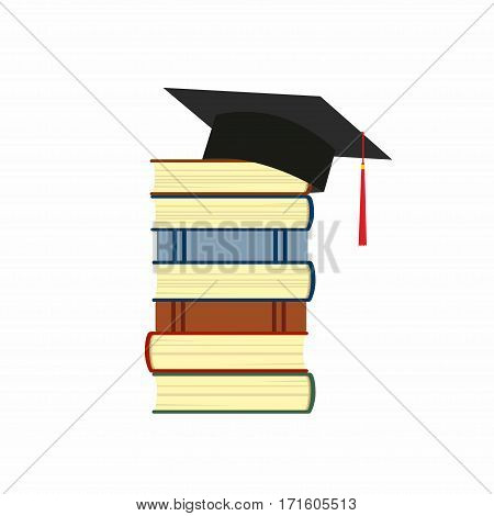 illustration of a stack of book and a hat of the graduate isolated on white background