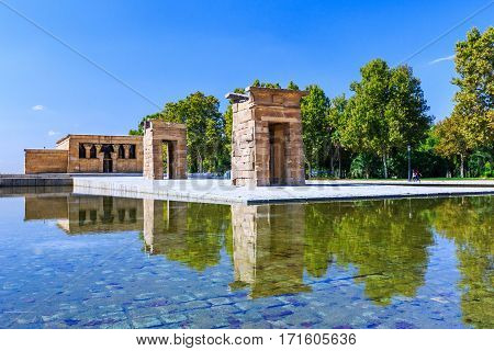 Madrid Spain. The Temple of Debod (Templo de Debod) an ancient Egyptian temple.