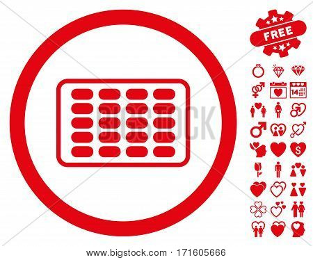 Blister pictograph with bonus marriage design elements. Vector illustration style is flat iconic red symbols on white background.
